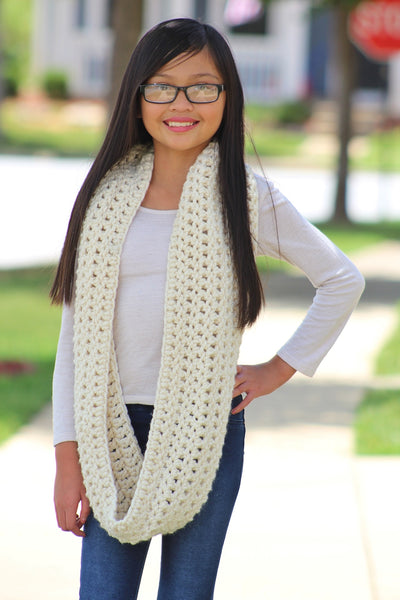 Cream sparkle infinity cowl winter scarf