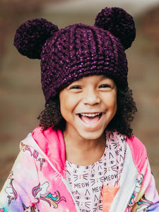 Eggplant sparkle double pom beanie winter hat by Two Seaside Babes