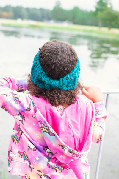 Teal knotted bow winter headband