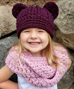 Purple eggplant double pom beanie winter hat by Two Seaside Babes