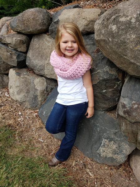 Pink blossom infinity cowl winter scarf