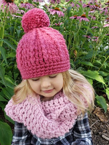 Raspberry pink pom beanie winter hat by Two Seaside Babes