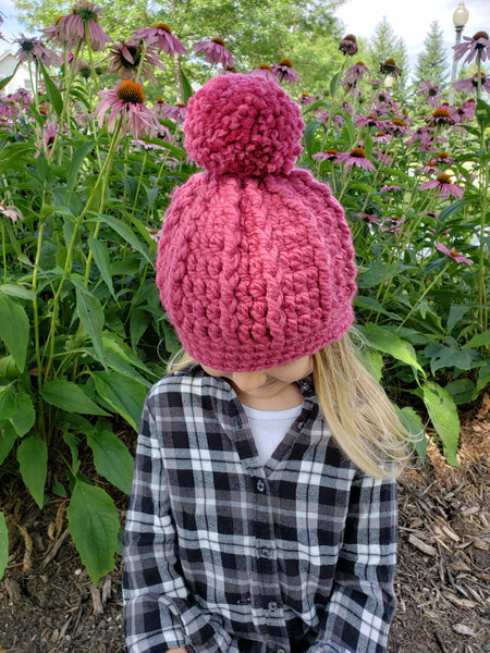 Raspberry pink pom beanie winter hat