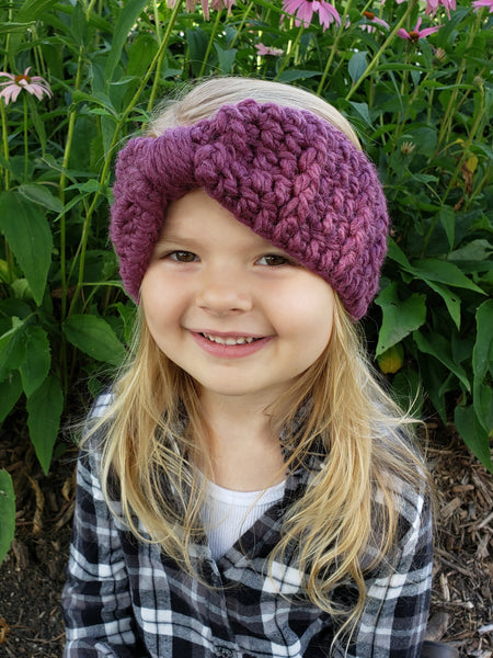 Purple plum knotted bow winter headband by Two Seaside Babes