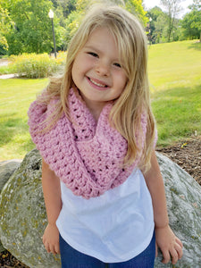 Pink blossom infinity cowl winter scarf by Two Seaside Babes