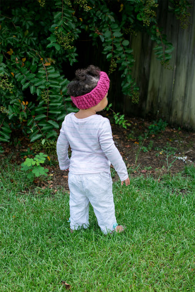Raspberry pink knotted bow winter headband