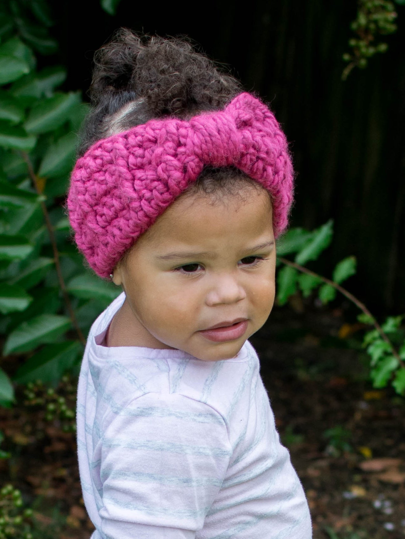 Raspberry pink knotted bow winter headband by Two Seaside Babes