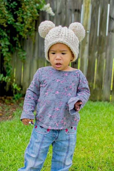 Cream sparkle double pom beanie winter hat