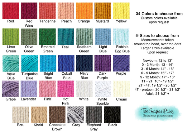 Design your own custom striped flapper beanie flower hat | 34 colors available