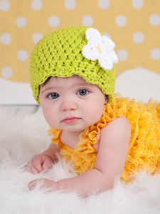 Lime green flapper beanie hat | 34 flower colors available