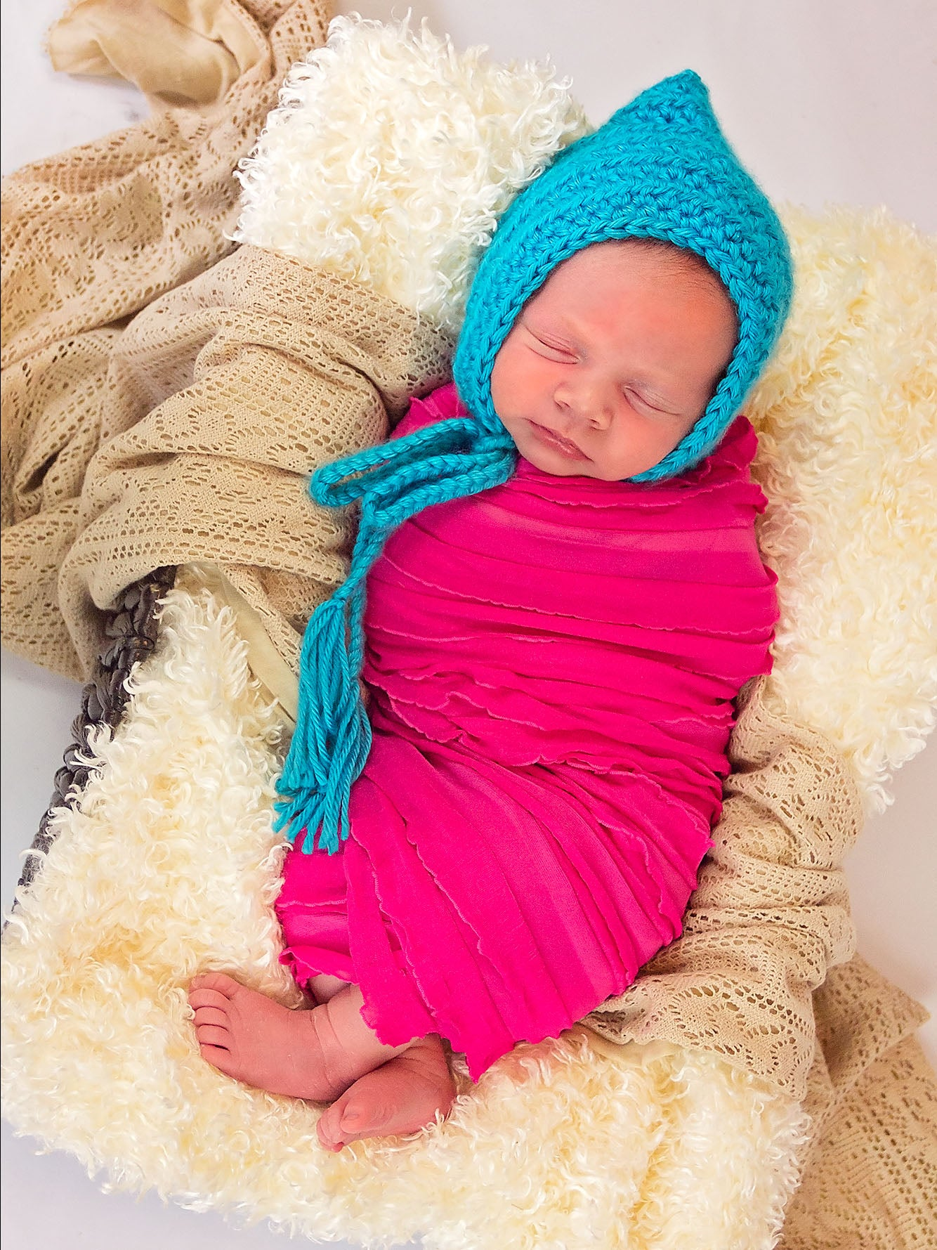 Turquoise Blue Pixie Elf Baby Hat