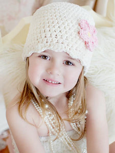 Cream flapper beanie hat | 34 flower colors available