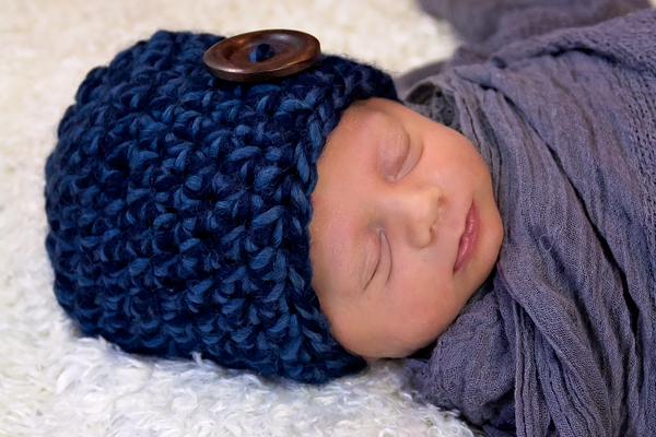 Denim twist button beanie baby hat