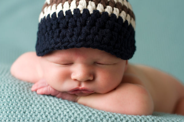 Newborn Navy Blue, Ecru, & Chocolate Brown Striped Visor Beanie