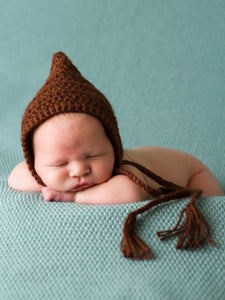 Dark Brown Pixie Elf Baby Hat by Two Seaside Babes