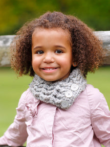 1T to 4T Toddler Gray Marble Button Scarf by Two Seaside Babes