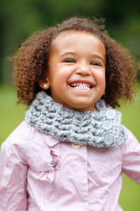 1T to 4T Toddler Gray Marble Button Scarf