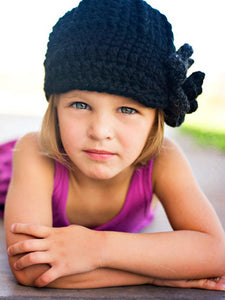 Black & Charcoal Gray 4T to Preteen Girl's Flower Beanie by Two Seaside Babes