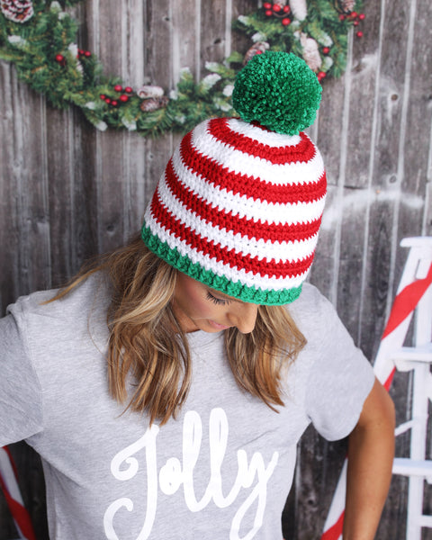 4 color combinations striped Christmas hat with giant pom pom