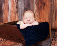 Navy Blue | newborn photo prop layering baby blanket, basket stuffer, bucket filler