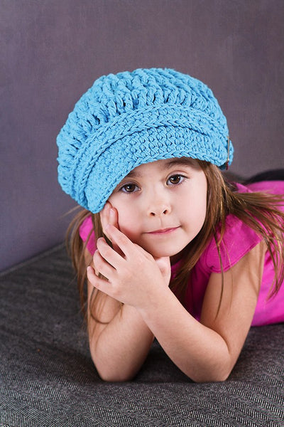 2T to 4T Bright Blue Buckle Newsboy Cap
