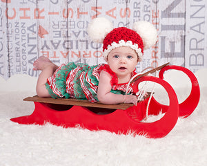 3 to 6 Month Baby Santa hat | Christmas hat | Red & White pom pom