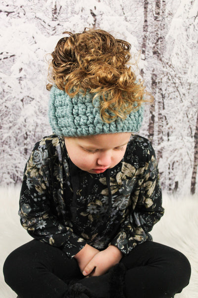 Seafoam knotted ear warmer bow winter headband
