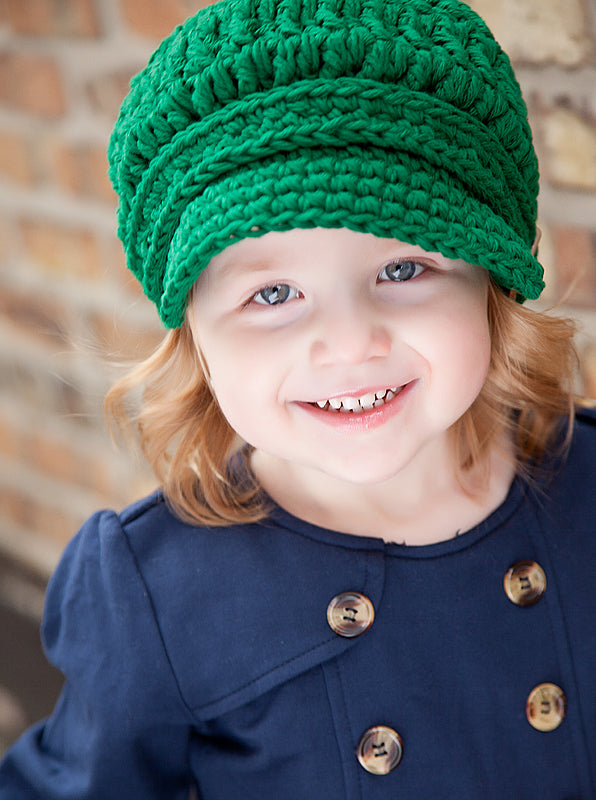 2T to 4T Emerald Green Buckle Newsboy Cap by Two Seaside Babes