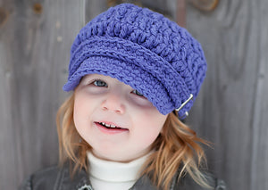 2T to 4T Purple Buckle Newsboy Cap