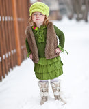 2T to 4T Lime Green Buckle Newsboy Cap