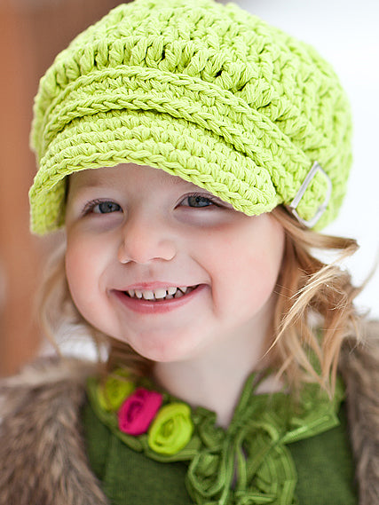 2T to 4T Lime Green Buckle Newsboy Cap by Two Seaside Babes