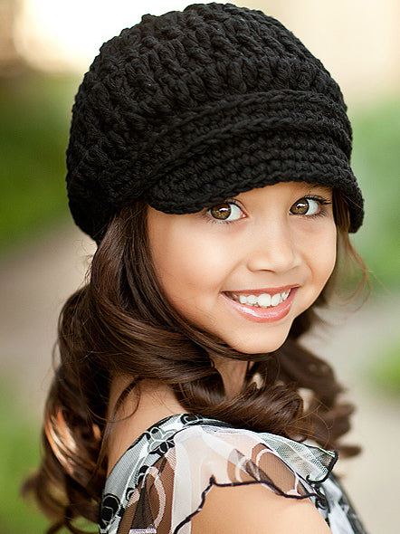 4T to Preteen Black Buckle Newsboy Cap by Two Seaside Babes