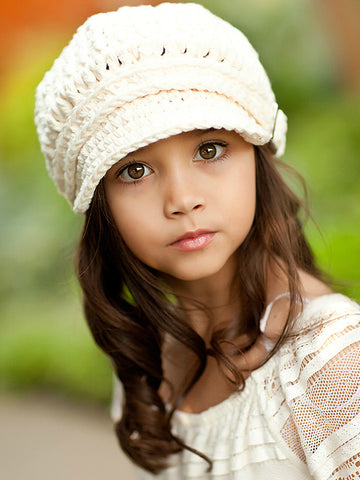 4T to Preteen Cream Buckle Newsboy Cap by Two Seaside Babes