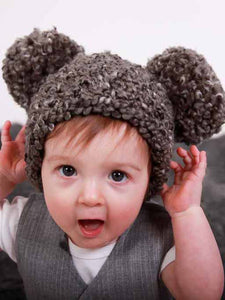 9 to 12 Month Charcoal Gray Pom Pom Hat by Two Seaside Babes