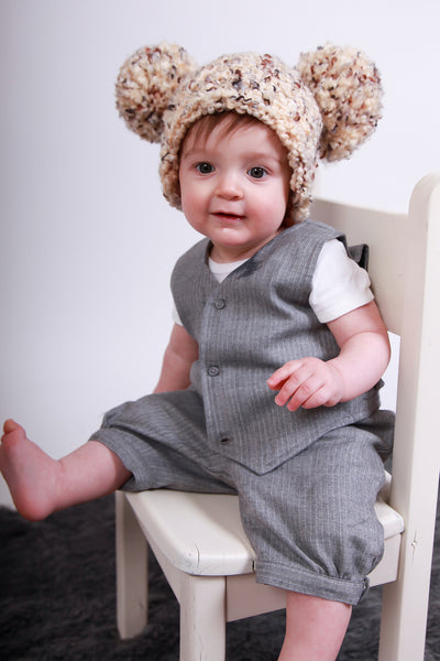 9 to 12 Month Sand & Brown Pom Pom Hat