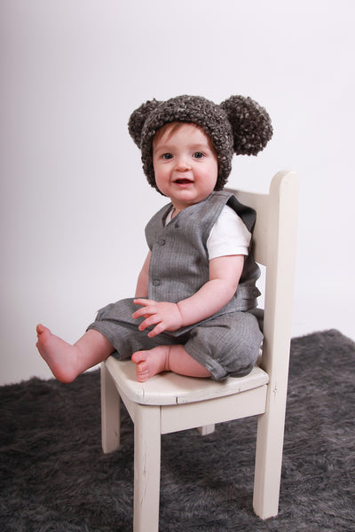 9 to 12 Month Charcoal Gray Pom Pom Hat