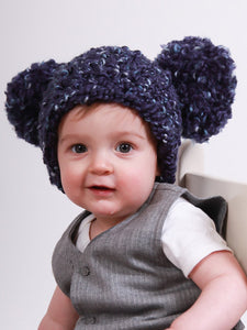 Navy blue giant pom pom winter hat by Two Seaside Babes