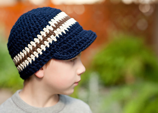 4T to Preteen Navy Blue, Ecru, & Chocolate Brown Striped Visor Beanie