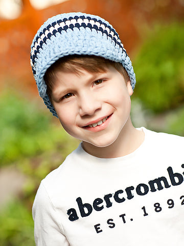 4T to Preteen Light Blue, Navy Blue, & Ecru Striped Visor Beanie by Two Seaside Babes