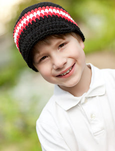 4T to Preteen Black, Red, & White Striped Visor Beanie