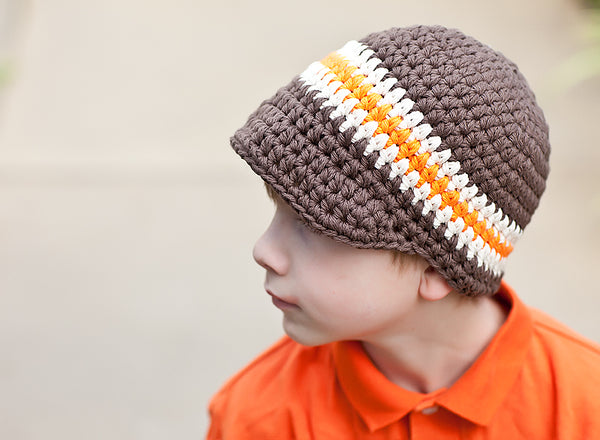 4T to Preteen Chocolate Brown, Ecru, & Orange Striped Visor Beanie