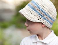 4T to Preteen Ecru, Light Blue, & Khaki Striped Visor Beanie