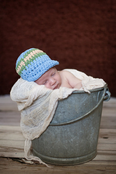 Newborn Light Blue, Olive Green, & Khaki Striped Visor Beanie
