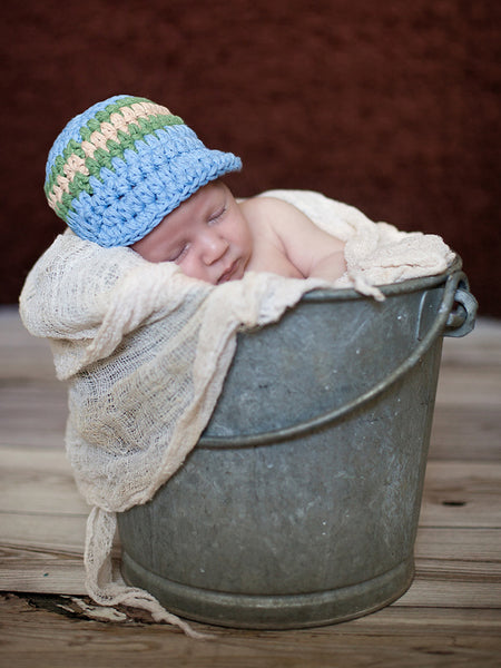 Newborn Light Blue, Olive Green, & Khaki Striped Visor Beanie by Two Seaside Babes