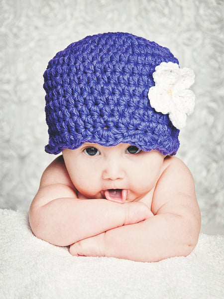 Purple flapper beanie hat | 32 flower colors available by Two Seaside Babes