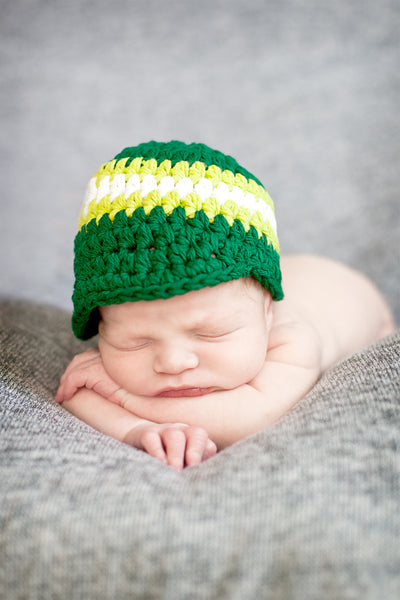 Newborn Emerald Green, Lime Green, & White Striped Visor Beanie