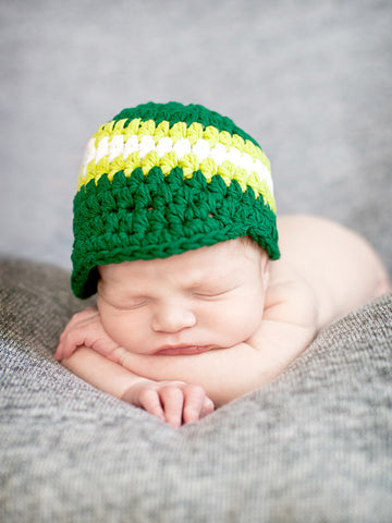 Newborn Emerald Green, Lime Green, & White Striped Visor Beanie by Two Seaside Babes