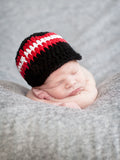 Newborn Black, Red, & White Striped Visor Beanie by Two Seaside Babes