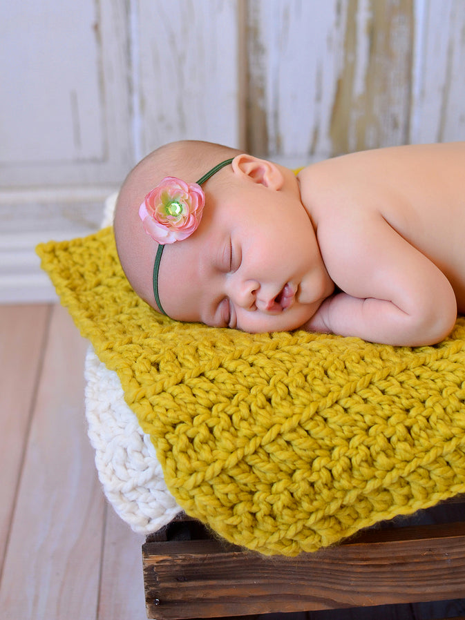 Yellow Citron | newborn photo prop layering baby blanket, basket stuffer, bucket filler by Two Seaside Babes