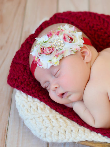 Cranberry Red & Cream | newborn photo prop layering baby blanket, basket stuffer, bucket filler by Two Seaside Babes